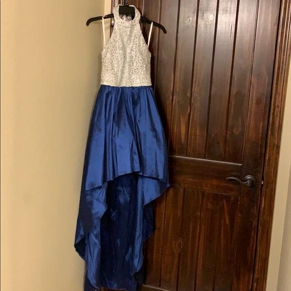 B Darlin Dresses & Skirts - Sliver and blue high low formal dress sz 7/8